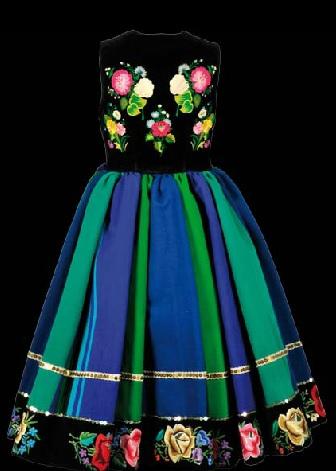 Kiecka kołowata odęta - suknia łowicka, tył
