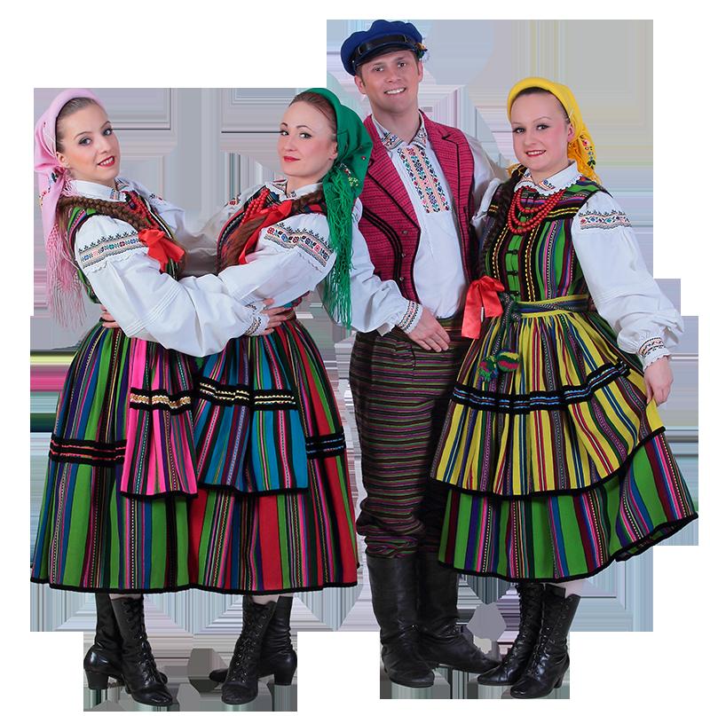 Polski pasiak wełniany w opoczyńskim stroju ludowym