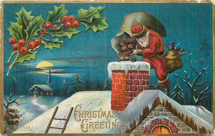 Pocztówka z 1911 roku - św. Mikołaj wrzuca prezenty przez komin