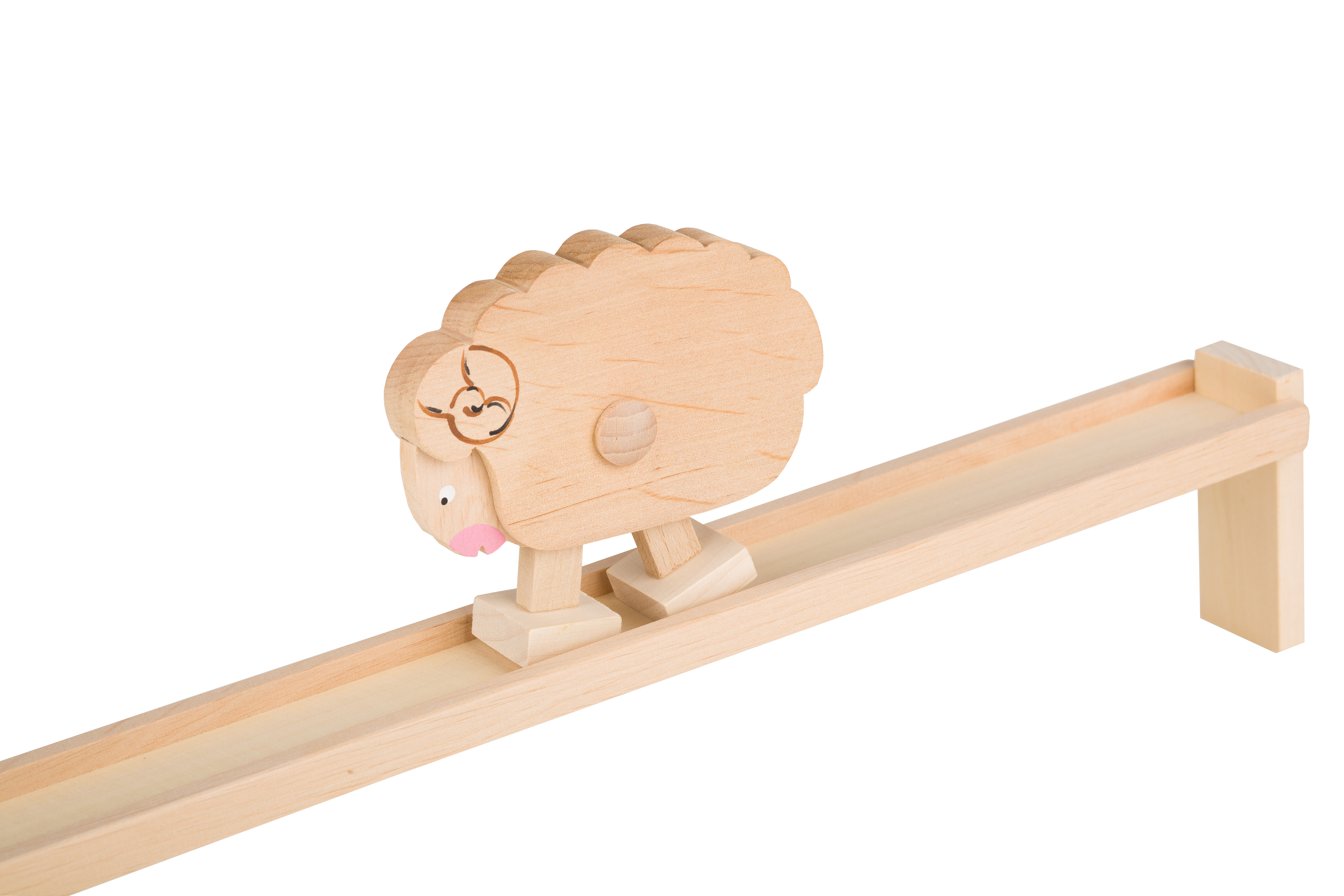 Drewniana zabawka - pochylnia - schodzący baranek