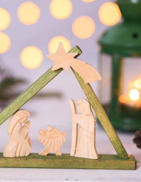 Tradycyjna szopka - dekoracje świąteczna na stół