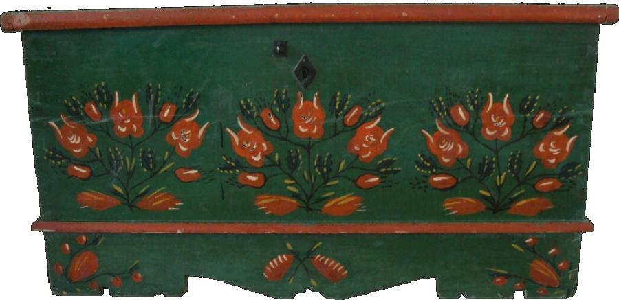 Motyw róż był jednym z popularniejszych na dawnej wsi, także na skrzyniach