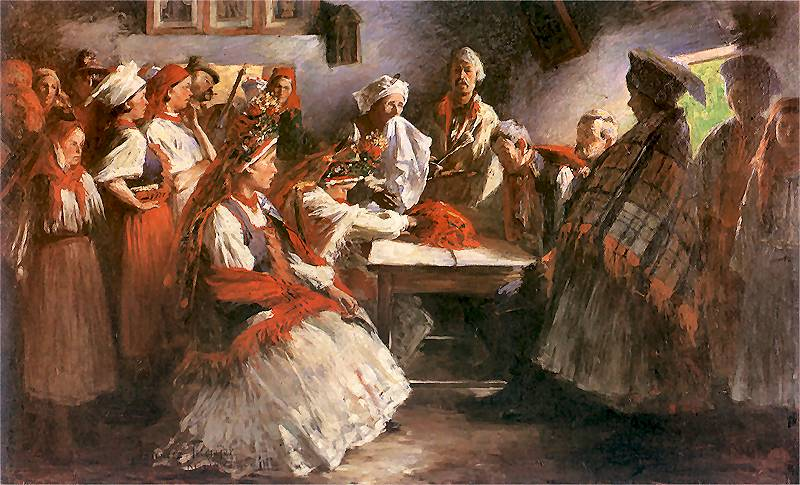 W najdawniejszych czasach zrękowiny były ważniejszym obrzędem niż sam ślub koościelny.