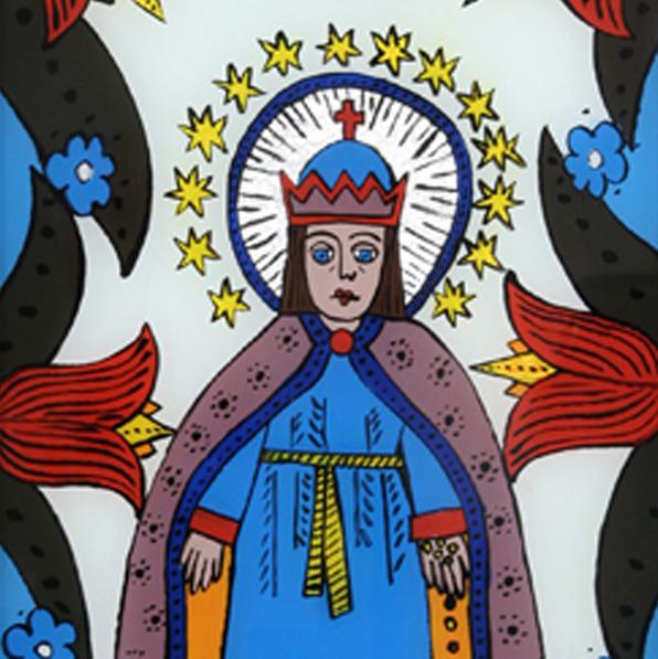 Matka Boska w ręce trzyma ziarna zbóż.