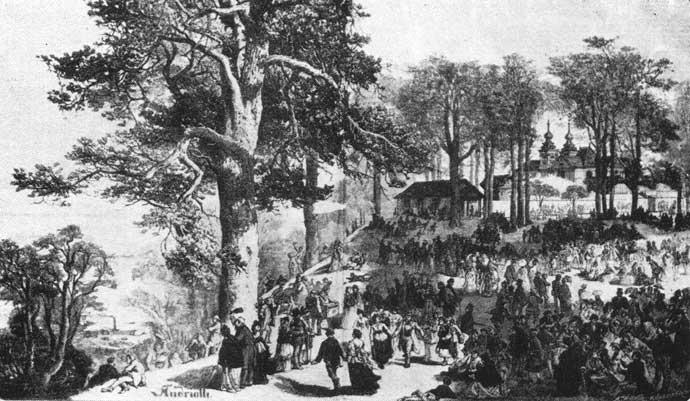 Wśród szlachty i magnatów modne były spotkania na świeżym powietrzu, w otoczeniu kwitnących krzewów.