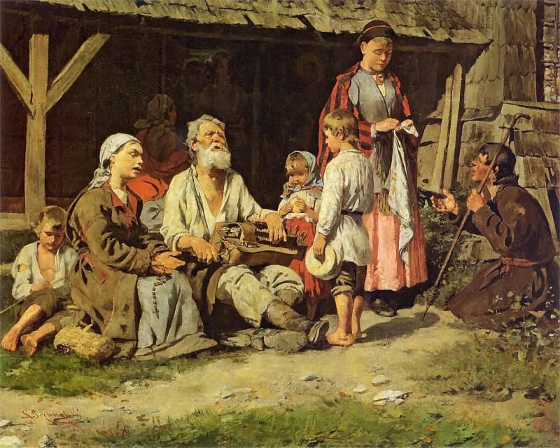 Lirnik przed chatą - Kazimierz Pochwalski, 1885