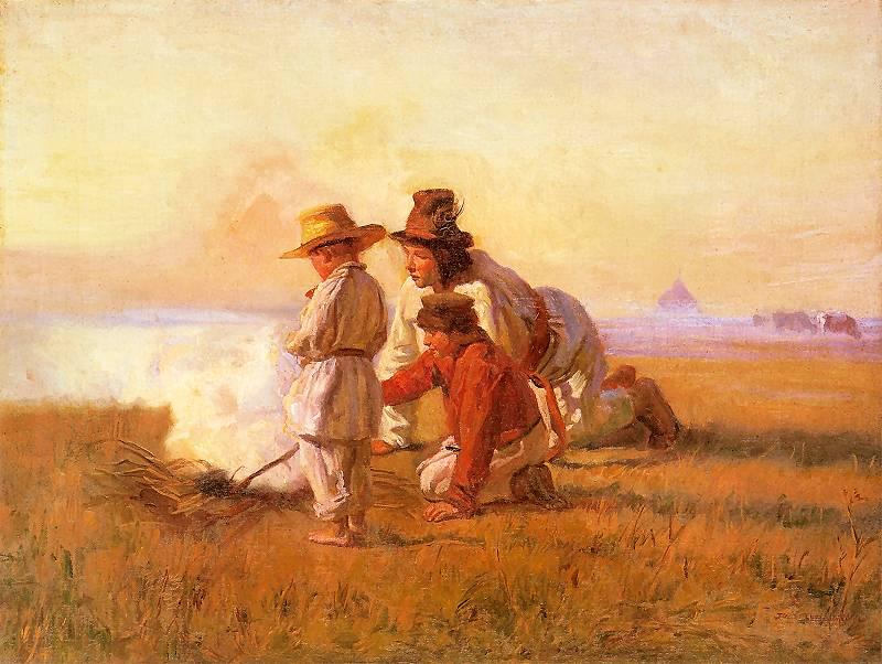 Pastuszkowie przy ogniu, Józef Chełmoński