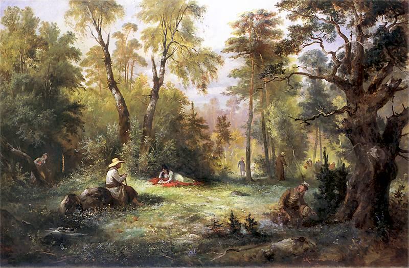Grzybobranie, Franciszek Kostrzewski (1860)