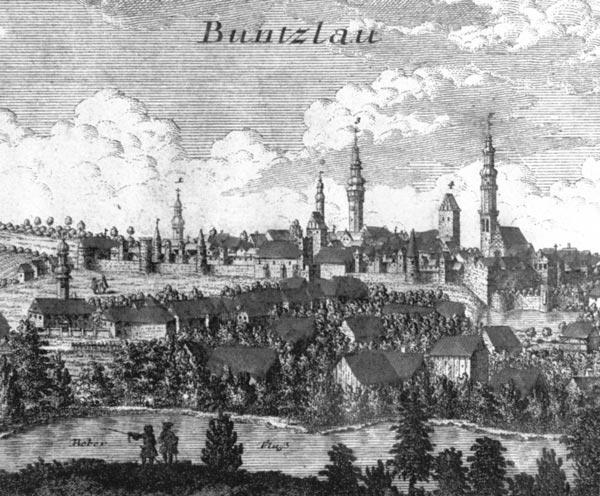 Panorama Bolesławca, rysunek F.B. Wernera z 1752
