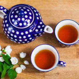 Dzbanek i filiżanki do herbaty - Ceramika Bolesławiec - groszki