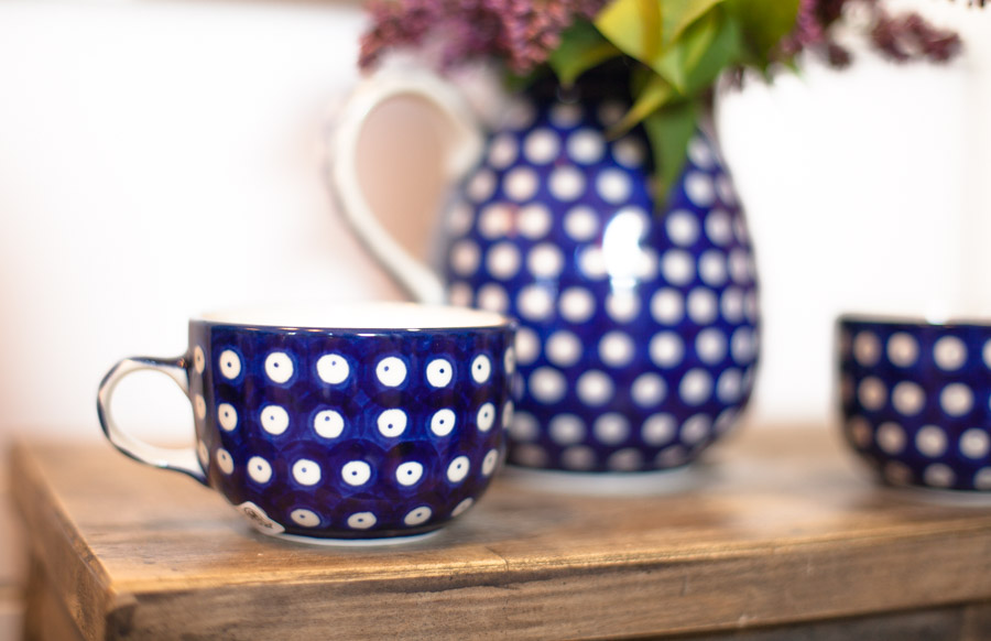 Filiżanka do herbaty - ceramika Bolesławiec - groszki